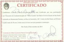 Certificado recebido pelo Delegado de Polícia Paulo Roberto de Queiroz Motta, no 1º Encontro de Confraternização da Polícia Civil do Estado de São Paulo.