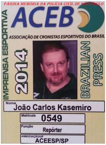 Credencial de Repórter da ACEB- Associação de Cronistas Esportivos do Brasil do Policial Civil João Caçula Kasemiro.