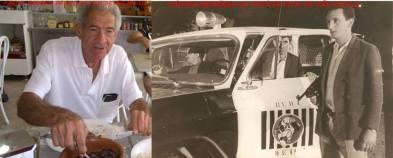 """Investigador de Polícia Silvio Mariano """"Sílvio Caroço"""", trabalhou na DISCCPAT- DEIC (Kilo), nas décadas de 60, 70, 80 e 90). À esquerda foto em um restaurante em Bragança Paulista onde reside e a direita, abrindo a porta da viatura, quando trabalhava na RUDI, início da década de 70."""