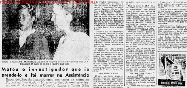 """Reportagem do Jornal Diário da Noite, Rio de 31 de maio de 1.951, sobre o assassinato do Investigador de Polícia Domingos Christal, pelo marginal """"China"""", no Bairro do Piqueri."""