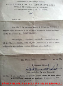 Convite para comparecimento à Divisão de Protocolo e Arquivo, assinado pela Encarregada Therezinha B. de Castro, em 10 de março de 1.972.