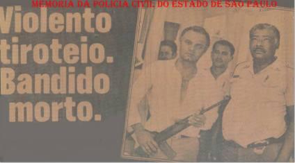 Reportagem sobre violento tiroteio entre policiais e marginais, ocorrido em Campo Limpo Paulista, no início da década de 80. Em primeiro plano, à partir da esquerda, Delegado Djahy Tucci Junior, Soldado PM Peranovik e Sargento PM Mancelito.