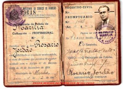 Carteira de Habilitação do DST- Diretoria de do Serviço de Trânsito, expedida pela Delegacia de Polícia de Marília, em 4 Dezembro 1937.
