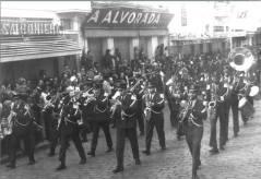Banda da extinta Guarda Civil, cidade de Piracicaba, na década de 60.
