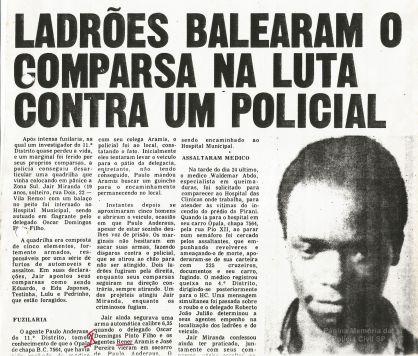 Reportagem sobre prisão efetuada pelo Delegado de Polícia Titular do 11º DP, Roberto João Julião Julião, com sua equipe de Investigadores Rener, Aramis e José Pereira, na década de 70. — em quipe de Investigadores Rener.