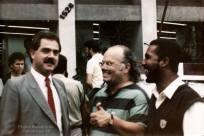 """Delegado de Polícia (na época Assistente do Dr. Carlos Alberto Costa """"Carioca""""), Elson Alexandre Sayão da Delegacia Roubo a Bancos- DEIC, e Investigadores Edson Champi e Euclides """"Clidão"""", na década de 80."""