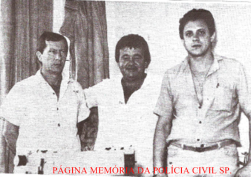 """Equipe Apolo 89 da Delegacia de Roubo a Bancos do DEIC: Investigadores Mandruca, Zé Bombeiro e Roberto Santini """"in memorian"""", em 1.989. 3 dias após esta foto o Investigador Santini foi assassinado no Bar Tropical na Rua Tuiuti, no Tatuapé."""