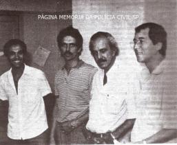 """Investigadores de Polícia da Delegacia de Roubos do DEIC, em 1.986, da esquerda para a direita: Paulinho """"Torresmo"""" ou """"Porcelana""""; Thesouro """"Carioca""""; Valsemir """"Canalha, in memorian"""" e Luis Carlos dos Santos ( ex- Delegado geral Adjunto)."""