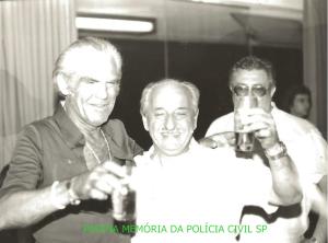 """Lendários Investigadores de Polícia Daniel """"Zebú"""", Mário Frajella e Arnaldo Galdi """"Fantomas"""", final da década de 70."""