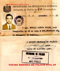 Memorando do Delegado da 4ª Circunscrição, Luiz de Oliveira Lima, nomeando o Sub- Delegado Murilo Cintra Rolim, em 07 de setembro de 1.957. (acervo do Investigador Marcelo Cintra Rolim).