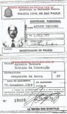 """Investigador de Polícia Arthur Teodoro """"in memorian"""" com a nova Identidade Funcional de 1.986, já que tinha entregue sua antiga Carteira Preta no final dos anos 70."""