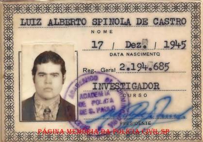 Carteira do Diretório Acadêmico de Criminologia, de aluno da Academia de Polícia de São Paulo, do curso de Investigador, em 1.975.
