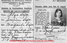 Documento de isenção de Salvo Conduto para fins de viagem, expedido pelo Delegado de Polícia de Itanhaen, em 1.943.