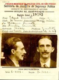 RG- Registro Geral da Secção de Identificação do Gabinete de Investigações e Capturas (posteriormente DI e atualmente DEIC) da Secretaria de Segurança Pública do Estado de São Paulo, emitida em 17/09/1.917.