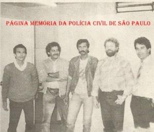 """Investigadores Edivánio, Paschoal, Celso, Sérgio !Trem Fantasma"""" e (?), na década de 80."""