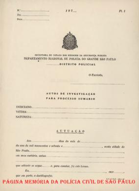 Capa de Autos de Investigação para processo sumário, até a década de 70.