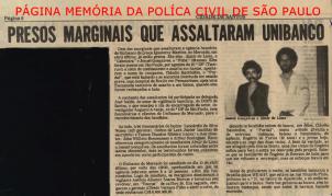 Reportagem do Jornal Cidade de Santos, em 24 de agosto de 1.982, sobre a prisão de assaltantes do UNIBANCO agência Mercado de Santos.