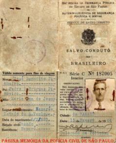 """Salvo conduto de José Pinheiro, emitido em 1944. (acervo do neto, Investigador Mario Benedito Pinheiro """"Nazaré"""")."""