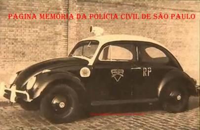 "Viatura de marca VW Sedan ""Fusca"" da antiga Rádio Patrulha, na década de 60."