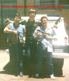 Equipe do GARRA- DEIC, em 1.989. Investigadores André, Sérgio e Vicente. (Acervo do Investigador João Paulo).