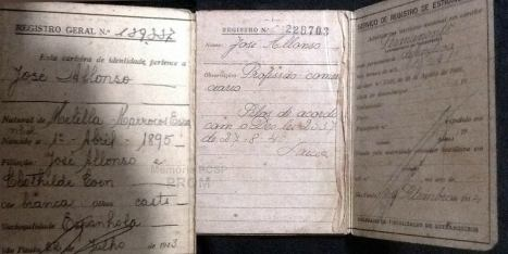 Carteira de identidade de estrangeiro, quando ainda era expedida pela Delegacia de Fiscalização de Estrangeiros da Policia Civil, para Jose Alonso, de nacionalidade Marroquina, avô do Investigador de Polícia Roberto Alonso).