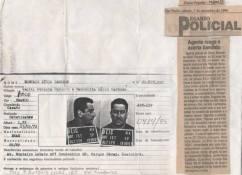 Reportagem sobre o Agente Policial do GARRA Marcelino Naldi Figueiredo, que reagiu a um roubo, resultando a morte de um dos ladrões, em 6 de dezembro de 1.996. Ao lado a ficha da Delegacia de Roubo a Bancos do indivíduo.