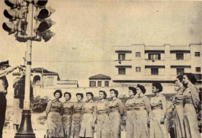 Polícia Feminina (instrução de policiamento de trânsito dada pela Guarda Civil, 1955).