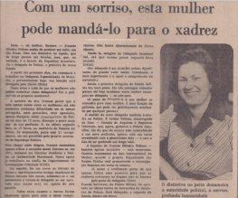 Reportagem do Jornal Diário de São paulo, em 06 de agosto de 1.975, sobre a primeira Delegada de Polícia do Estado de São Paulo, Ivanete Velloso. (enviado pela filha Policial Civil Eliane Oliveira Velloso).