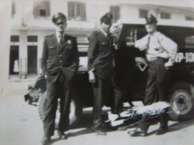 Guardas Civis da Rádio Patrulha, na década de 60. Ao centro o Classe Distinta Edison de Moraes, que na unificação optou pela Polícia Civil e foi um dos primeiros desenhistas de Retrato Falado da Polícia Civil.