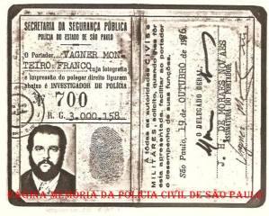 Identidade Funcional de Investigador de Polícia, a lendária Carteira Preta, assinada pelo Delegado Geral de Polícia, de março de 1975 a janeiro de 1977, Exmo Joaquim Humberto de Moraes Novaes, emitida em 19 de outubro de 1.976.