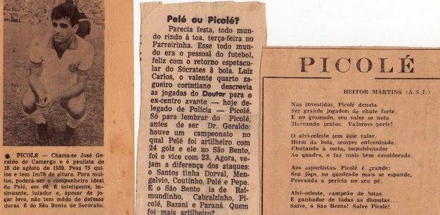 """Reportagens sobre o Delegado de Polícia José Geraldo de Camargo, o saudoso """"Picolé"""", quando iniciou sua carreira futebolística no início da década de 60."""