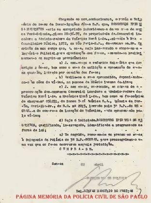 """Portaria datada de 11 de abril de 1.974, para Instauração de Inquérito Policial, assinada pelo Delegado de Polícia do 2º DP- Marapé- Santos- Antigo DEREX (atual DEINTER 6), Gilvan Marcílio de Freitas """"in memorian"""", constando como indiciado um dos maiores estelionatários da época, o gaucho Rosemberg Ipiranga de Magalhães, vulgo """"Doutor""""."""
