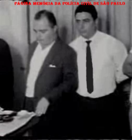 Policiais do DI- (Departamento de Investigações) do DEIC, que trabalharam no esclarecimento do caso de roubo dos 500 milhões contra o Banco Moreira Salles, na Praça do Patriarca, em 1.965. Investigadores Bernardino Elmer Verona e Luís Olivares.