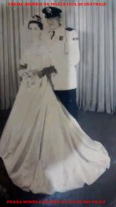 Casamento de José Barbosa da Cruz, com uniforme de gala da extinta Guarda Civil da Polícia do Estado de São Paulo e Maria das Neves Queiroz da Cruz, na décad de 50. (Acervo do filho, Investigador de Policia do DEINTER 6, Marcelo Barbosa da Cruz.
