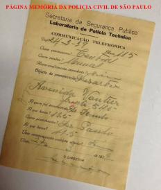 Talão de comunicação telefônica de ocorrência da Policia Técnica, em 27 de março de 1.939. Acervo de Nata Nunes.