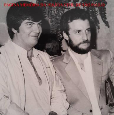Repórter Policial Afanásio Jazadji e o Delegado Guaracy Moreira Filho, durante uma solenidade em que foram homenageados, no início da década de 80.