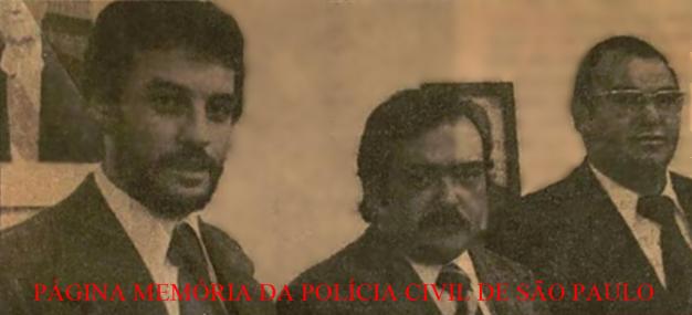 """Delegados Guaracy Moreira Filho, o saudoso Adhemar Magalhães Lopes """"Capitão Gancho"""" e Carlos Pedro Harich, do GARRA, em 1.977."""