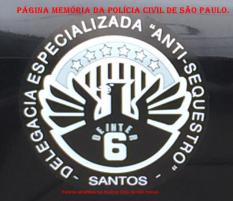 """Dístico da Delegacia Especializada """"ANTI- SEQUESTRO""""- Santos- DEINTER 6."""