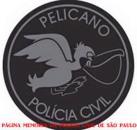 """Dístico helcóptero """"Pelicano"""" do Serviço Aerotático - SAT, da Polícia Civil."""