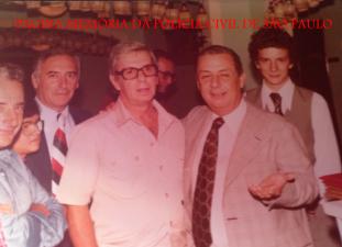 —Dependências do DETRAN, em 1976. Delegados Nogueira, Walter Suppo, Tucunduva; e o escriturário Celso Russomano (hoje Deputado Federal).