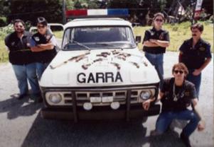 Equipe do GARRA. em diligência na Serra da Cantareira. Investigadores Marcelo, Paulo, Trassate e Sérgio Agamalian, em 1.991.
