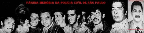 """Policiais da DISCCPAT- DEIC (Kilo). À partir da esquerda, Investigadores (?), (?), (?); o saudoso Delegado Getúlio Paello Prado; Investigadores (?), (?), Rosemauro Belmonte e (?).. O assaltante de taxistas Adjovan Nunes vulgo """"Guri"""" furou um cerco policial, empunhando dois revólveres, matando a tiros o Investigador Agostinho Nunes (o último à direita na foto) e ferindo com quatro disparos o Investigador Pascoal de Carvalho, em 16 de julho de 1.970. Após 111 horas de trabalhos ininterruptos, a equipe de policiais do """"Kilo"""", comandados pelo Delegado Getúlio Paello Prado, sem encerrarem os talões das viaturas durante todo este tempo, localizaram o marginal, e após intenso tiroteio, alvejaram-no, vindo a óbito."""