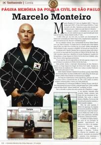 """Matéria do livro """"Grandes Mestres das Artes Marciais"""", de autoria de Fábio Amador Bueno, sobre o Mestre de Taekwondo, Investigador de Polícia Marcelo Monteiro, 8º Dan."""
