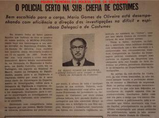 """Reportagem do jornal """"Mundo Policial"""", na década de 40, enaltecendo o trabalho junto à chefia da Delegacia de Costume do DI- Departamento de Investigações, do Investigador de Polícia Mario Gomes de Oliveira, mais conhecido como """"Pena que Voa"""". (Acervo do neto Pedro Scigliano Junior)."""