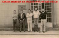 Delegacia do Município de Nazaré Paulista, em 1.983, À partir da direita o recém empossado Delegado Paulo Fleury , (?), Escrivão Juarez Pinheiro, PM (?) e (?).