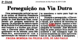 """Jornal Estado de São Paulo de 20/11/1984, sobre a prisão do ladrão de bancos José Machado Dias """"Nego Sé"""", após perseguição por 2 Km na contramão da Via Dutra e tiroteio, na noite de 19/11/84, pelos componentes da equipe Apolo 88 da 5ª Delegacia de Roubo a Bancos da DISCCPAT- DEIC (Kilo), Investigadores Paulo Roberto De Queiroz Motta (Encarregado, hoje Delegado Titular do Jd. Casqueiro- DEINTER 6), Marco Adolfo Magagna """"Marcão"""", Luiz Tizzano e Benedito Pena """"Peninha"""". (Enviado pelo Agente Brinks Antonio Carlos Passador)."""