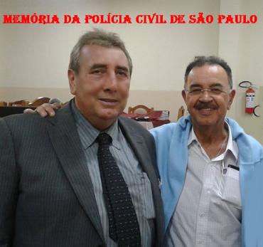 O Delegado Paulo Roberto de Queiroz Motta e o Reporter Policial Percival de Souza, no 1º Encontro da Velha Guarda da Polícia Civil de São Paulo, em 2.013.