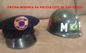Quepe e Capacete da extinta Guarda Civil da Polícia de São Paulo. O capacete foi usado na 2ª Guerra Mundial e fornecido pelo Exército USA, com a sigla MP (Military Police). (Acervo do Investigador Anderson G. Dias ( Pezinho).