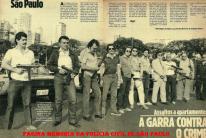 """Matéria sobre o GARRA da Revista Manchete, em 1.984. À partir da esquerda, 1º) Delegado de Polícia Antonio Carlos da Silva; Investigadores de Polícia: 2º) Paraguaio, 3º) """"Gaucho"""", 5º) José Roberto Napoli, """"in memorian"""", faleceu em acidente com VTR do Garra em 1985, 6º) José Roberto Zamora, 7º) Osmar Janucci 8º) Delegado de Polícia do Grupo 20, Tanigushi, 9º) e 10º) Investigadores José Lebrum e Geraldo """"Medalha"""" (ambos ex- RONE, RUPA e RUDI), 11º) Adolpho Mazzei """"in memorian"""" (ex- RUDI e RONE). O Delegado Divisionário da DISCCPAT- DEIC era o saudoso Dr. Jorge Miguel."""