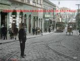 Um integrante da extinta Guarda Cívica, na Rua São João sentido Largo Paissandú, em 1.908. A Guarda Cívica foi absorvida pela Força Pública em 1.924 e na necessidade de uma corporação policial civil e uniformizada foi criada em 1.926 a Guarda Civil do Estado de São Paulo. - Foto restaurada e colorizada por Alexandre Segatta. https://www.facebook.com/MemoriaDaPoliciaCivilDoEstadoDeSaoPaulo/photos/a.309062712549640.69642.282332015222710/1055136371275600/?type=3&theater